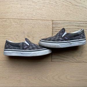 Boys Camo/Checker Slip on Vans